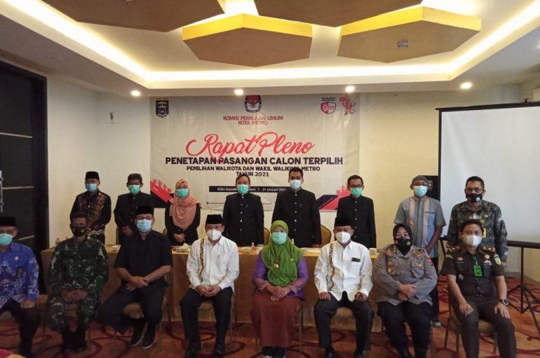 KPU Metro Tetapkan Waru Sebagai Walikota dan Wakil Walikota Metro
