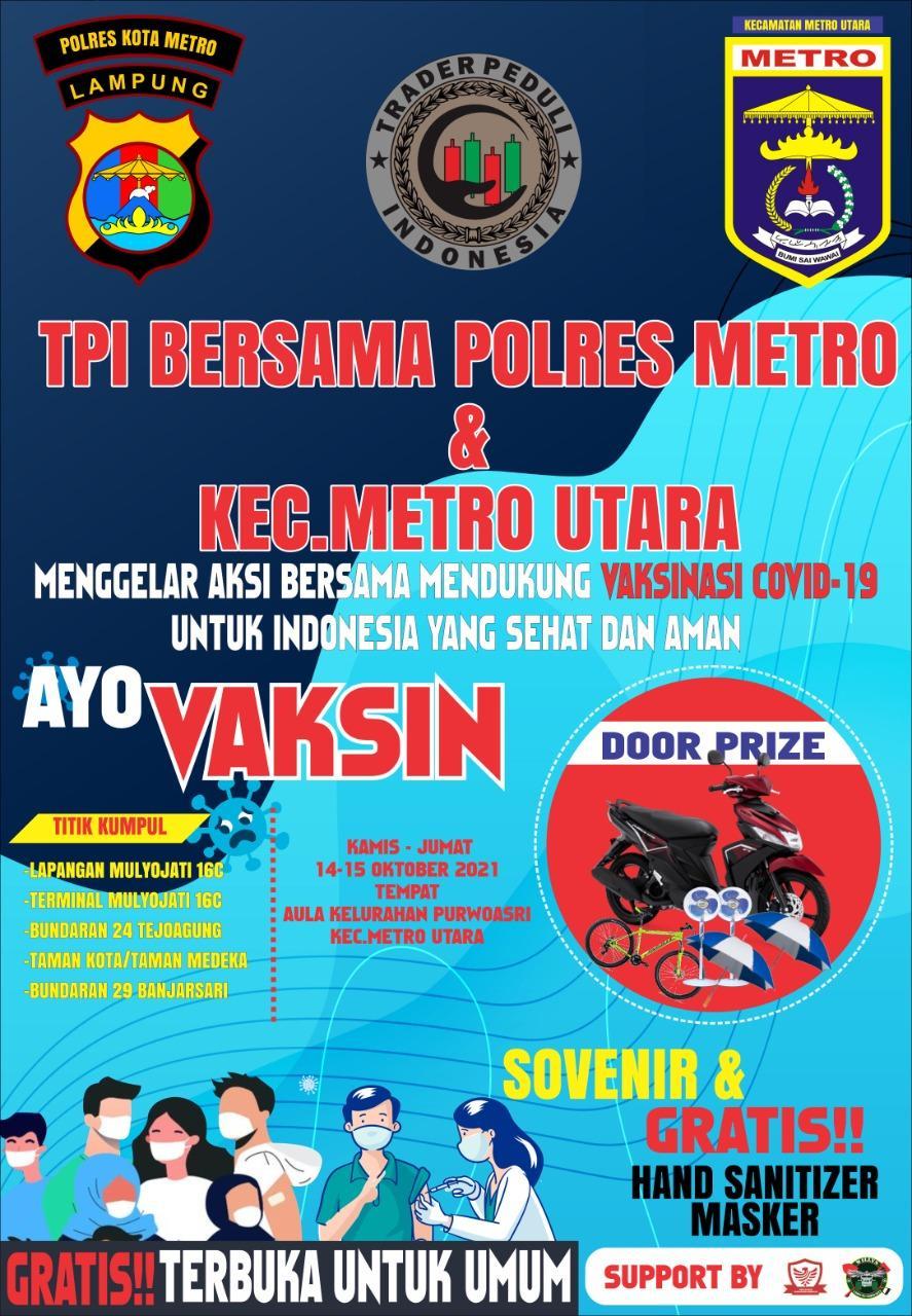 TPI Siap Wujudkan Target Polri 1.000 Warga Vaksinasi di Metro Utara